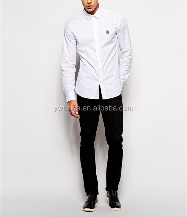 2014 Fancy New Style Mens White Poplin Dress Shirt Long Sleeve ...