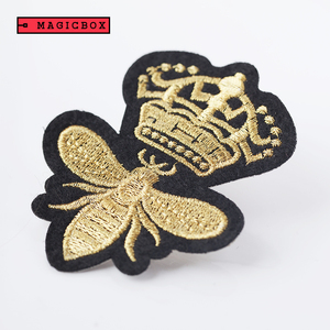 Best-selling Southeast Asia custom imitation gold bullion crown and bee embroidered embroidery patch for saree