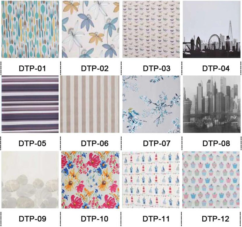 Manual roller blind shades printed polyester fabric blinds