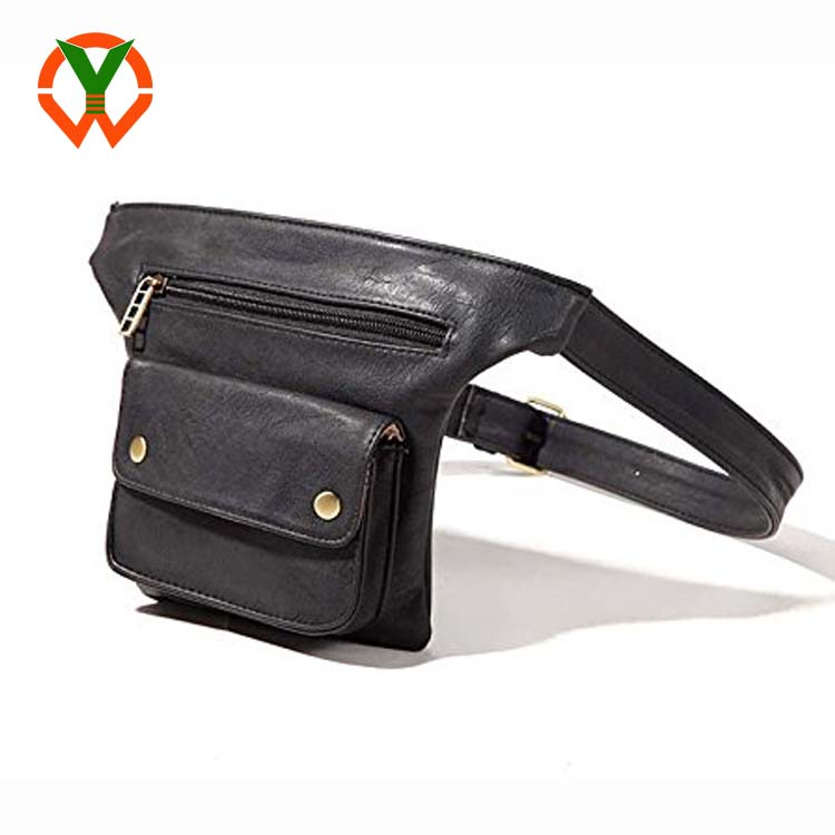 Couples Multifunction Black PU Leather Waist Packs with Cell Phone Pouch