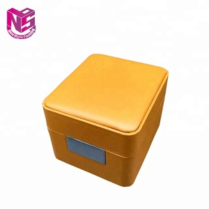 Luxury genuine PU leather rectangular EVA single watch packing box