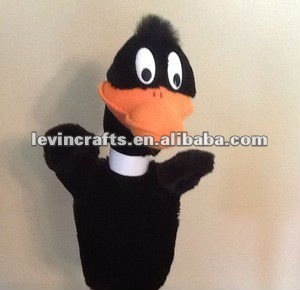 funny daffy duck toy plush hand puppet for kids