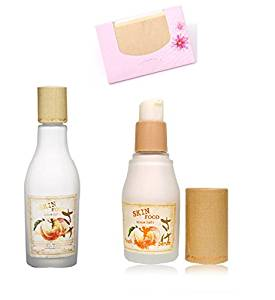 BUNDLE - SkinFood Peach Sake Emulsion for Pore Care 135ml + Skin Food Peach Sake Pore Serum 45ml + SoltreeBundle Natural Hemp Paper 50pcs