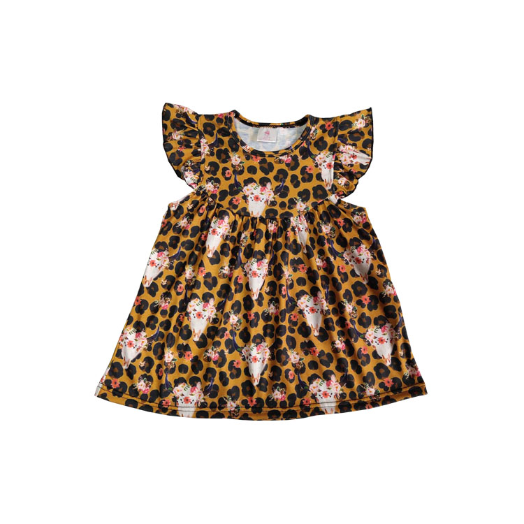 2019 Adorable Girls Frock Design Dress Boutique Kids Cow Skull Pearl baby girls dress, As picture