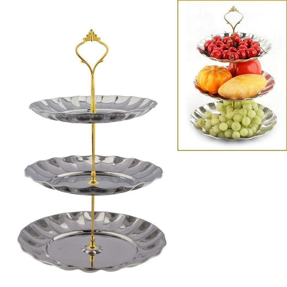 3-Tier Cupcake Stand NHSUNRAY Round Stainless Steel Dessert Stand Cake Stand Wedding Parties Birthday Tea Party Serving Platter (3-Tier, silver)