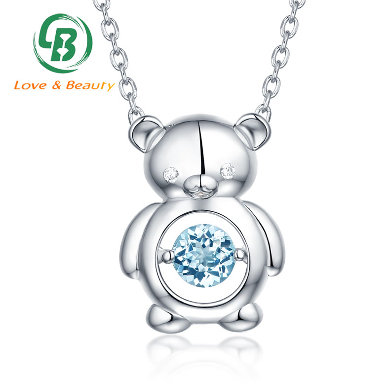 Sterling silver lucky charm necklace natural topaz dancing stone necklace