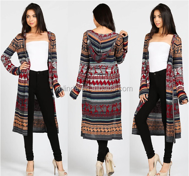 Fall Cardigan Wholesale Women Tribal Print Hooded Knit Long ...