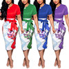81212-MX8 factory price 4 colors elegant flower printed dresses women lady