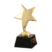Cheap Black Crystal Base Gold Metal Star Trophy Award Wholesale