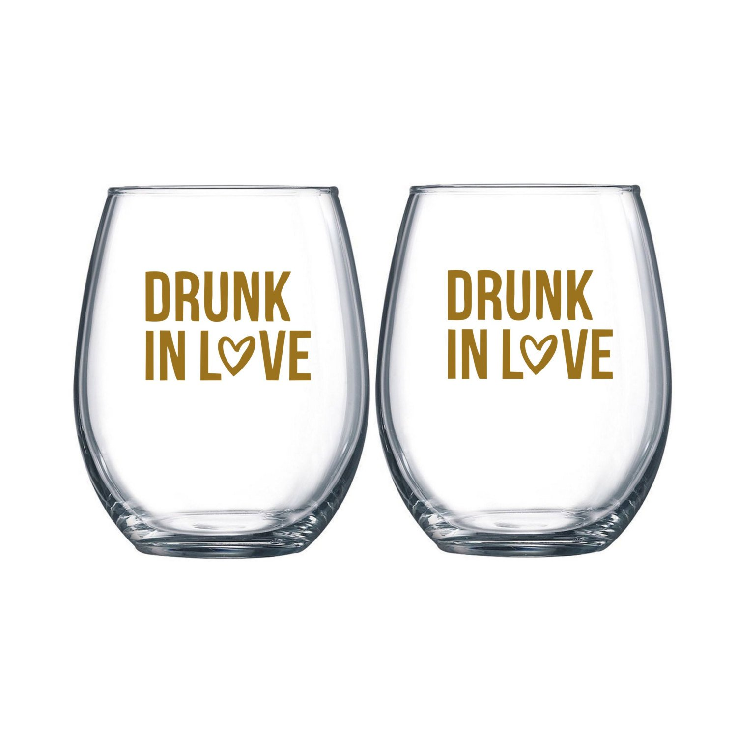 Drunk In Love Stemless Wine Glass Set of 2 Wine Glass Wedding Favor Drunk On Love His and Hers Wine Glasses Bridal Shower Favor