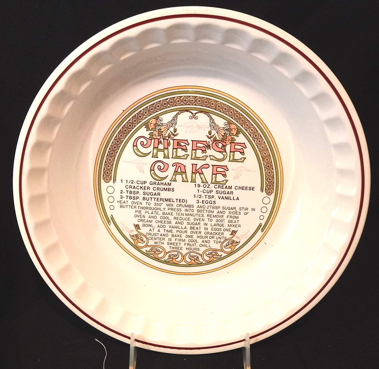 """Cheese Cake Dish with Recipe, Cheese Cake Pie Plate, 10-3/4"""" Pie Plate, Cheese Cake Recipe Collectible Dish"""