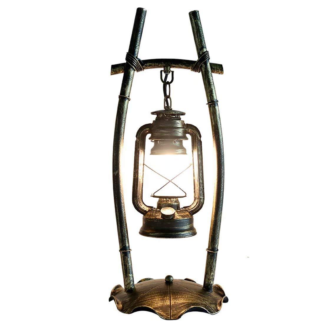 Vintage Wrought Iron LED Table Lamp Personality Bedroom Study Room Restaurant Retro Wrought Iron Kerosene Lamp Creative Art Antique Table Lamp