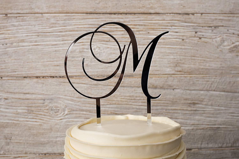 Silver Acrylic Cursive Letter Wedding Cake Topper