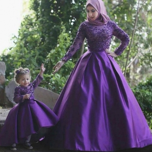 Muslim Purple Wedding Dresses Mother And Daughter Long Sleeves Arabic Evening Dress Indian Bride