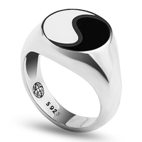 Tai chi Yin Yang Gossip Enamel 925 Sterling Silver Men Ring,Antique Finger Ring For Men Jewelry