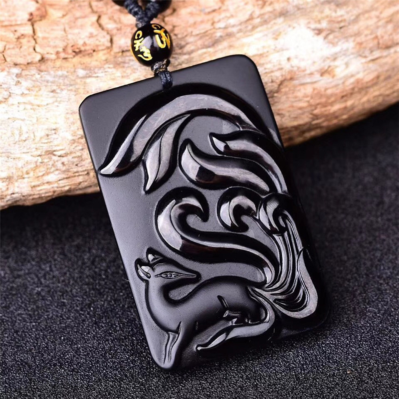 Men Necklace Pendant Natural Obsidian Stone Fox Pendant Nine-fox Pendant Necklace Gift for Women Fashion Jades Jewelry