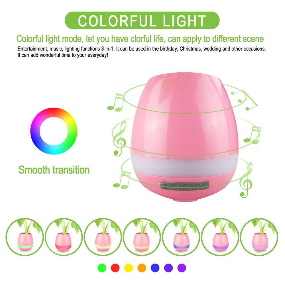 Smart Music flowerpot Wireless Speaker with Colorful LED Light