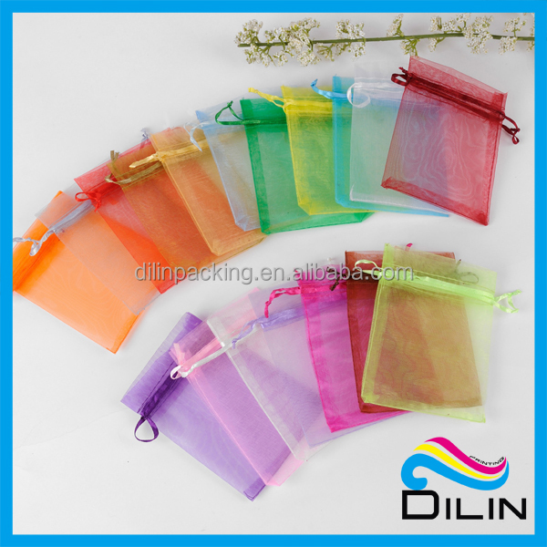 Resuable cheap small bag satin organza bag with silk ribbon