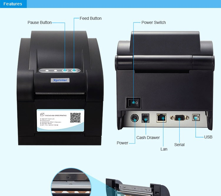 Xprinter 3 inches thermal barcode printer XP-350BM