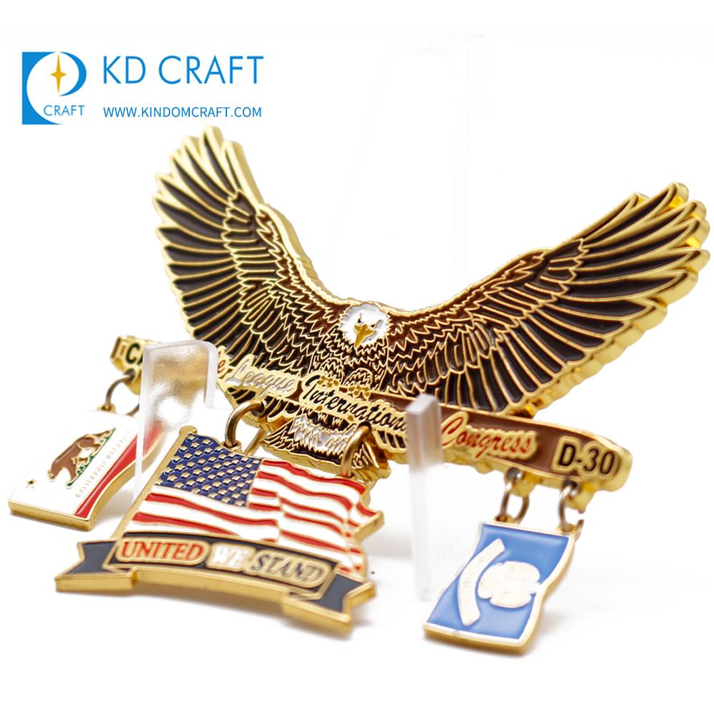 Militaria Generous Pair Of Us Military Major Rank Metal Collar Badges With Clutchback Pins