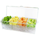 Durable food container Food grade BPA free Acrylic Clear 4 Section Condiment container on Ice