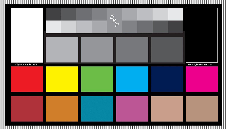 DGK Digital Kolor Pro 16:9 Chart - Set of 2 Large Color Calibration - Video Chip Charts / 18% Gray White Balance Cards