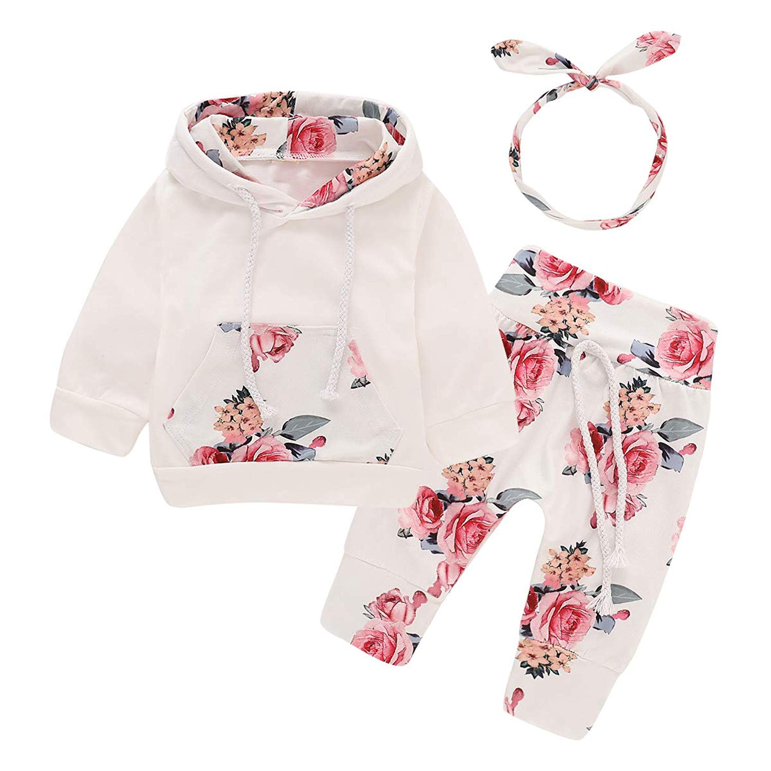 puseky Newborn Baby Girl Floral Hoodie Shirt Tops+Pant+Headband 3Pcs Tracksuit Outfit