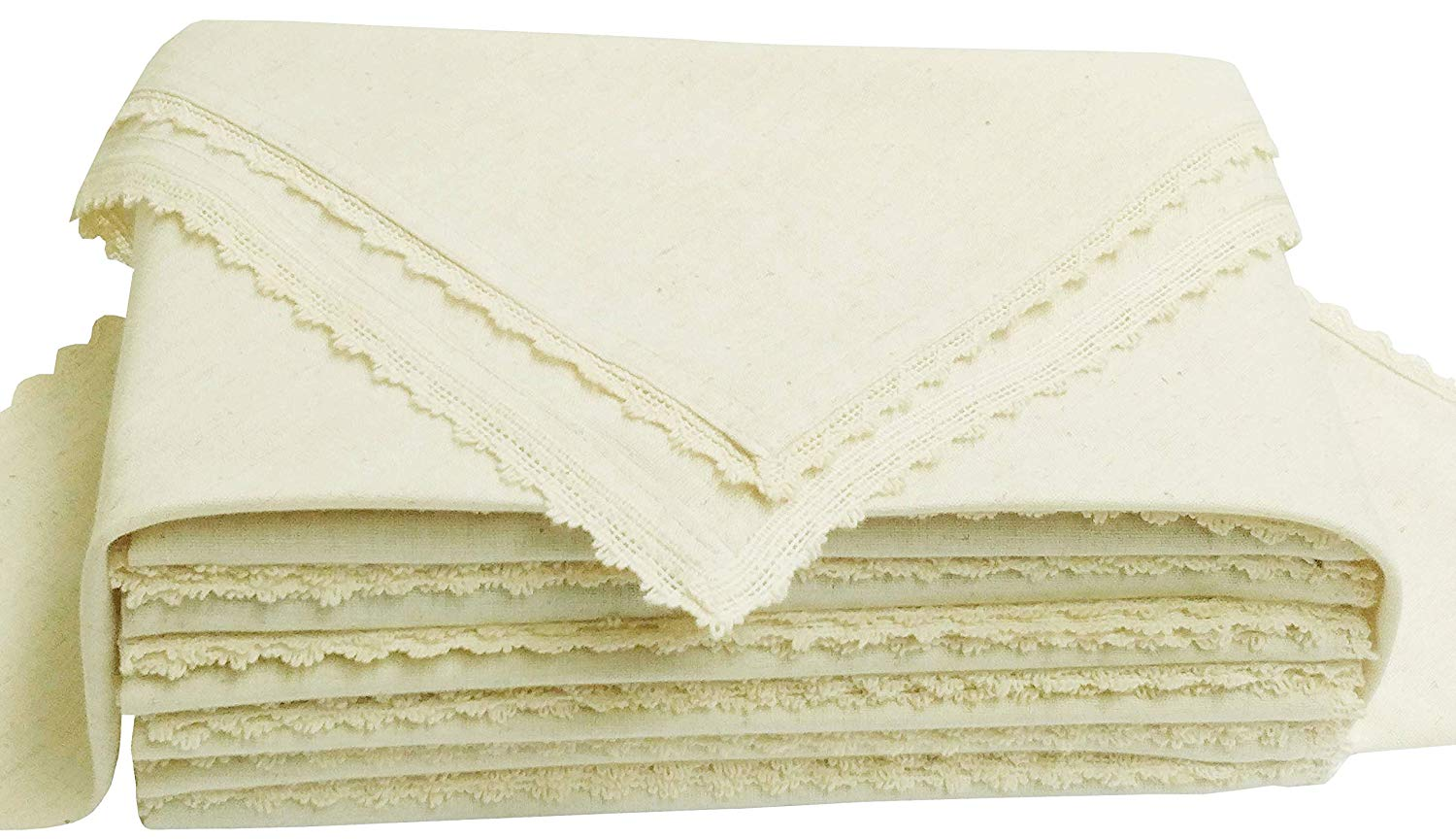 Cloth Dinner Napkins-Flax Cotton-20x20 with Lace -Natural Color,Wedding Napkins,Cocktails Napkins,Dinner Napkins,Decorative Napkins, Mitered Corners, Machine Washable Dinner Napkins Set of 12