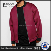 MGOO Cheap Price Bomber JacketIn Burgundy Drop Shoulder Neoprene Satin Baseball Jackets