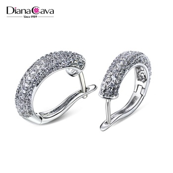 Office Lady Jewelry Fashion Costume Cubic Zirconia Gold Small Hoop Earrings