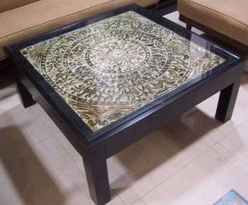 Glass top indian wooden center table buy glass top for Best centre table designs