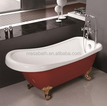 Freestanding Red Acrylic Small Portable Large Fibergl Claw Foot Clawfoot Bath Tubs Bathtubs For Malaysia Bathroom Tub