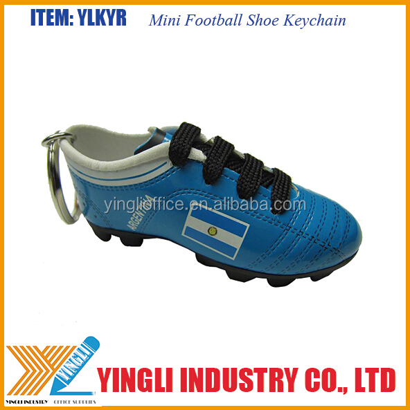 Soft PVC Mini soccer shoe keychain for promotion