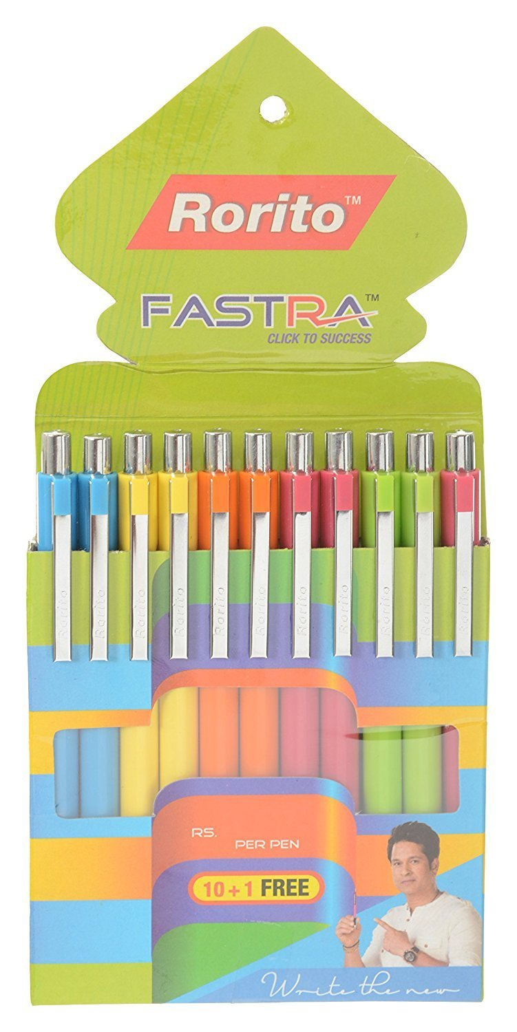 Rorito 'Fastra' Retractable Ballpoint Pens, Pack of 10 Pens