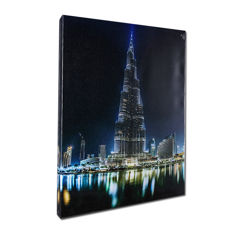 Wall Decor Canvas Art Modern City Panorama building Night View Picture led Canvas Print Painting