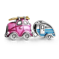 Factory Travel Car and Trailer Charm Set,925 Sterling Silver Enamel Charm