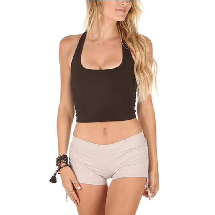 <strong>women</strong> black cropped tanks top tight fit racerback vest gym fitness yoga clothing wholesale