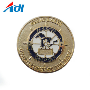Custom personalized stamp zinc alloy metal gold edge challenge coin