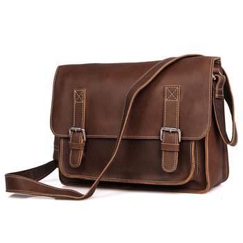 China Wholesale Genuine Leather Bags Vintage Leather Messenger Bag For Men  7089B-1 85e594c322