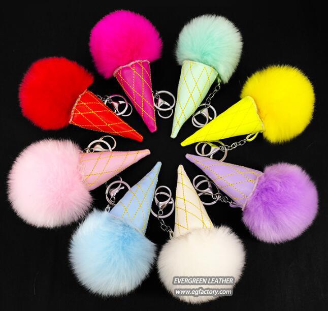 Fur ball key chain ice-cream accessories for handbag FT083