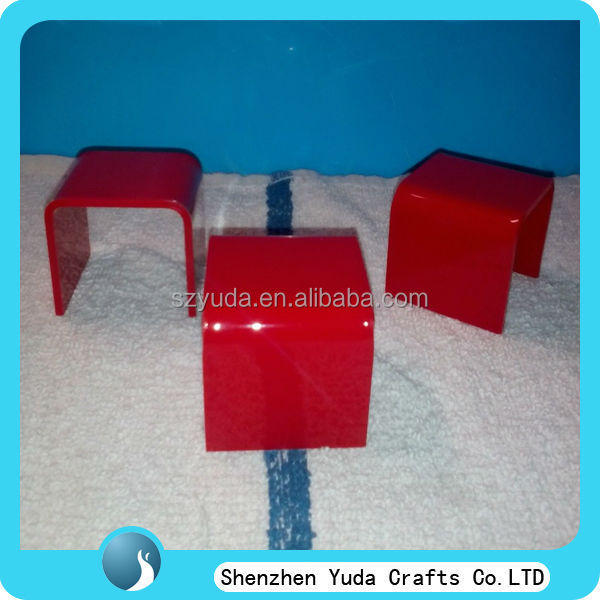 Beautiful red acrylic shop riser display, jewelry acrylic U shape riser