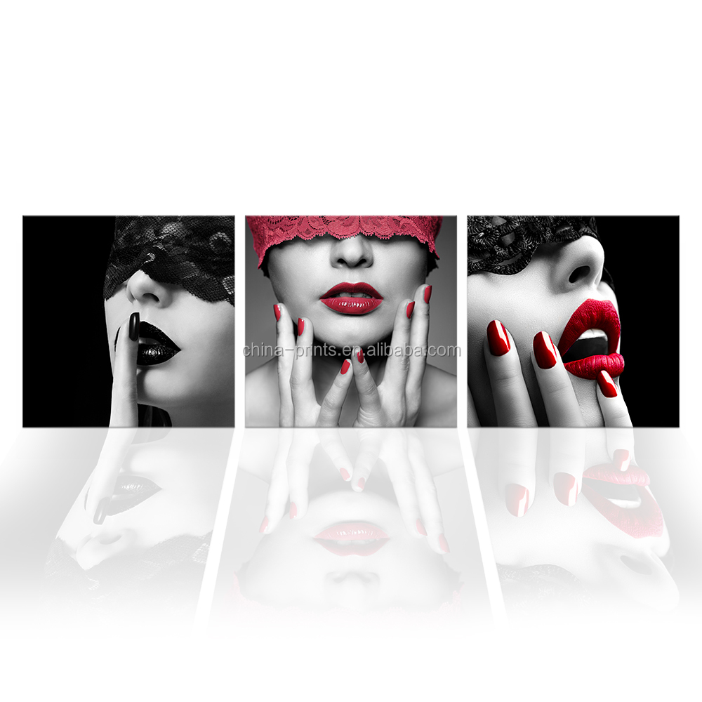 Red Lip Lady Canvas Wall Picture 3 Pieces Charming Beauty Canvas Art Prints Living Room Decoration Ready to Hang on Wall фото