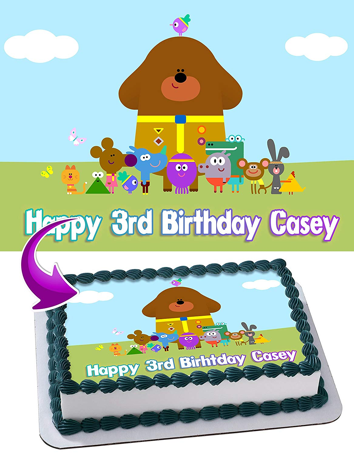 f619a9863bf4 Get Quotations · Hey Duggee Birthday Cake Personalized Cake Toppers Edible  Frosting Photo Icing Sugar Paper A4 Sheet 1