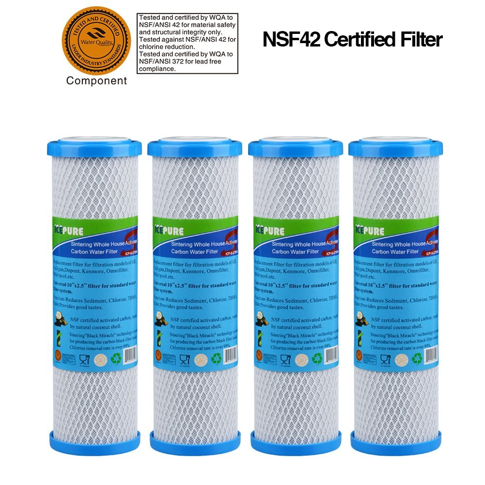 """ICP-S-CTO10 4 pack Whole House Sintering Activated Carbon Water Filter 10""""compatible with DuPont WFPFC8002, WFPFC9001,Culligan P5-D,Filtrete mpr1000,Whirlpool WHCF-WHWC"""