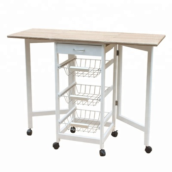 Portable Rolling Drop Leaf Kitchen Island Cart White Tile Top Folding  Trolley Table,1 Wood Drawer & 2 Steel Baskets - Buy Kitchen Island  Cart,Portable ...