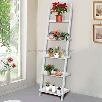 Attrayant Wood Carved Garden Accessories Ladder Design Flower Stand Plant Pot Storage  Racks Shelf