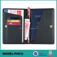Slim RFID Blocking leather travel ticket wallets and Passport card holder