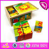 2015 Foldable wooden cube puzzle for kids,cheap wooden jigsaw puzzle for children,9 Cute animals picture cube puzzle toy W14F006