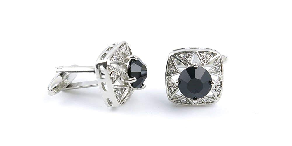 1 pair Gift Cuff Party Shirt Bouton Button Manschettenknopf Cufflinks DHLH9 Black Stone Diamond