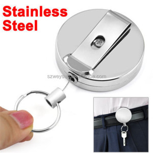 Metal Delicate And Durable Retractable Pull Chain Reel ID Card Badge Holder Reel Recoil Belt Clip